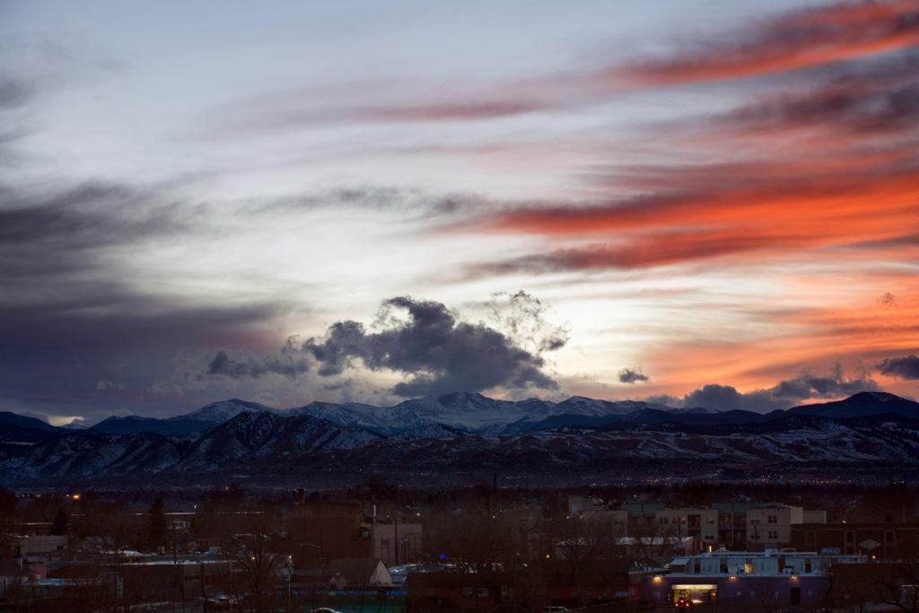 Mount Evans sunset - February 16, 2011