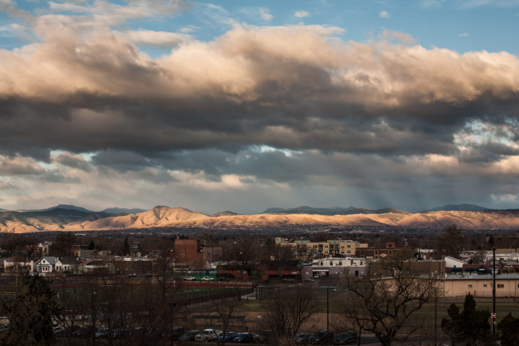 Clouds move along the Front Range, in front of Mount Evans - March 31, 2011