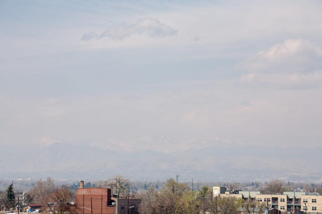 Hazy skies and Mount Evans - April 9, 2011