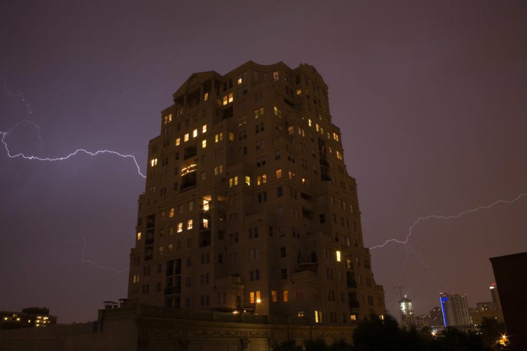 Lightning and the Prado. Denver, Colorado