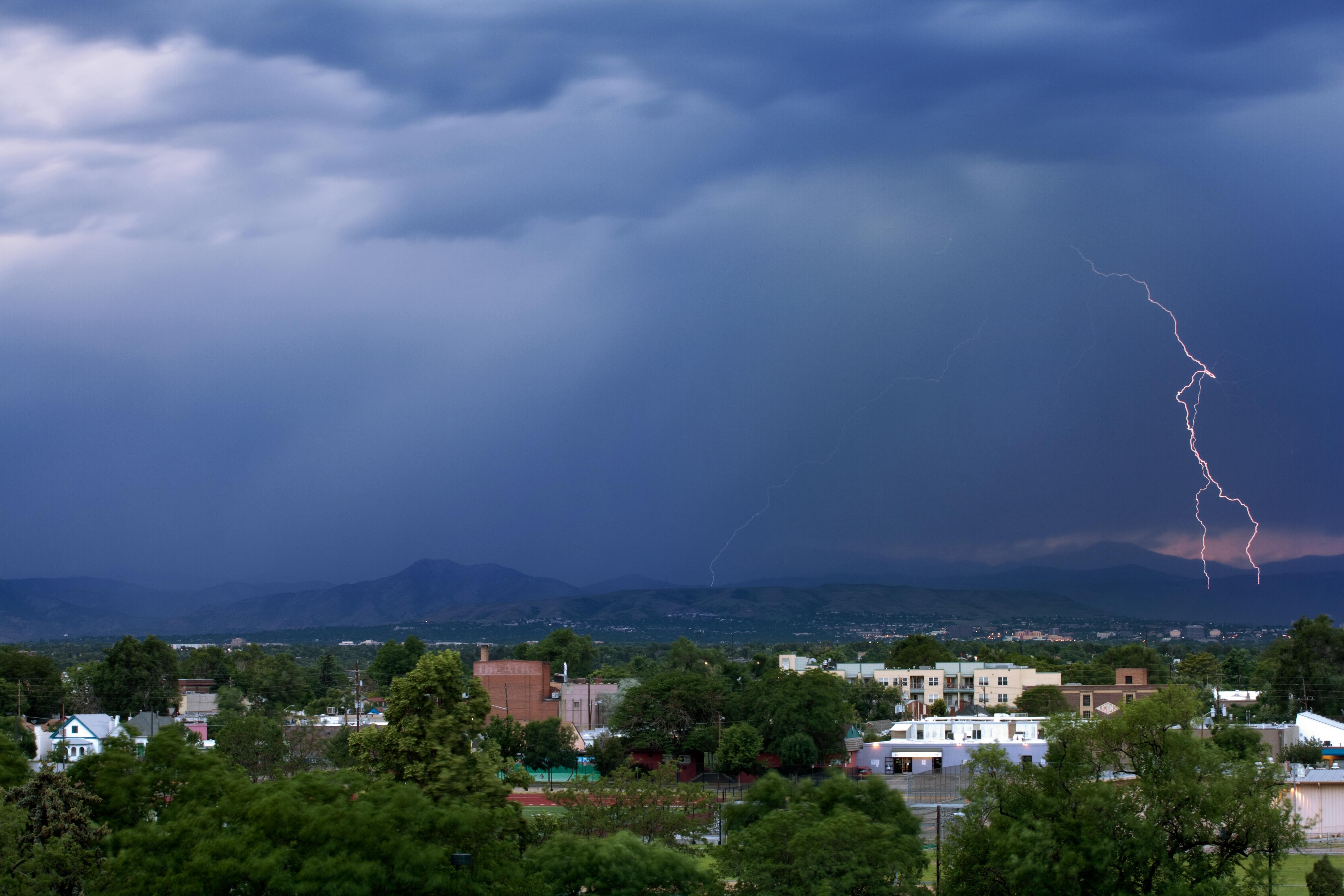 Mount Evans obscured with lightning - June 30, 2011