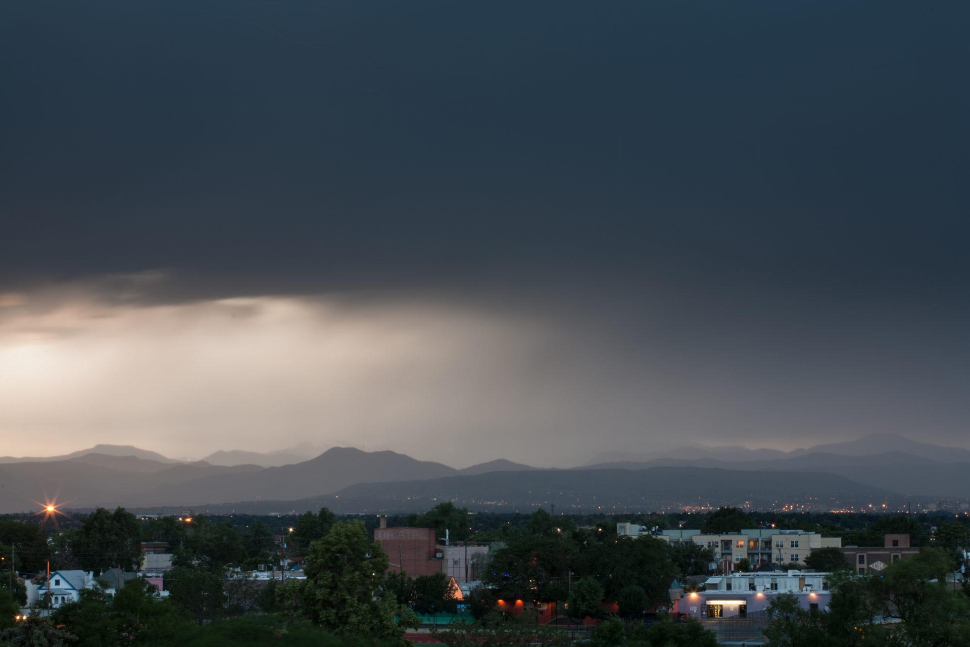 Mount Evans obscured at sunset - June 30, 2011