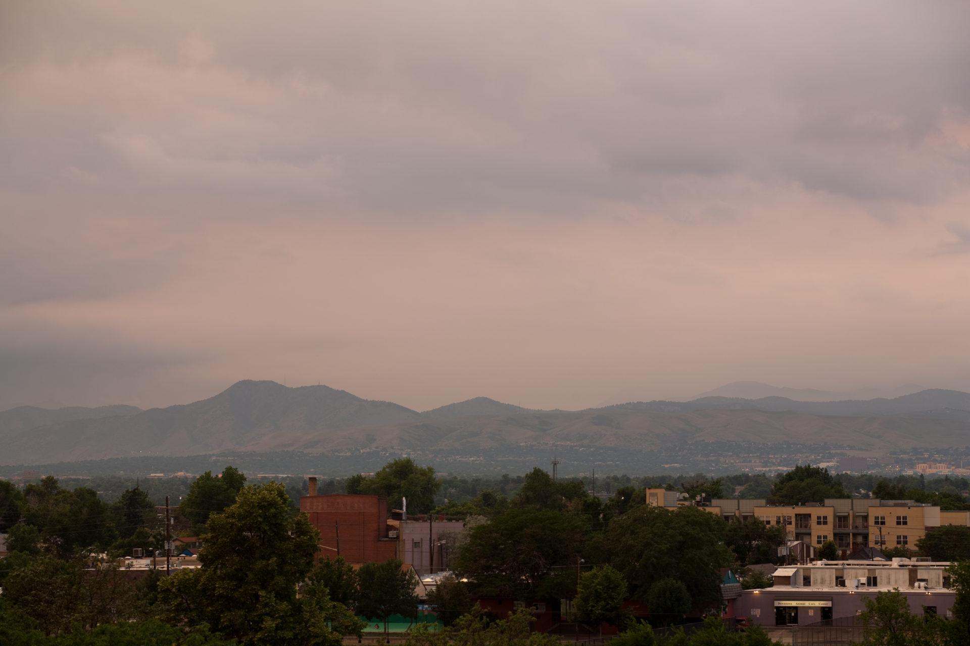Mount Evans obscured at sunset - July 6, 2011