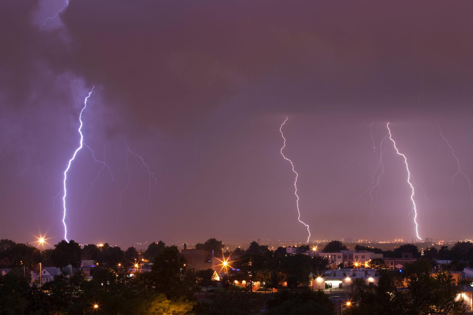 Mount Evans obscured with lightning - July 12, 2011