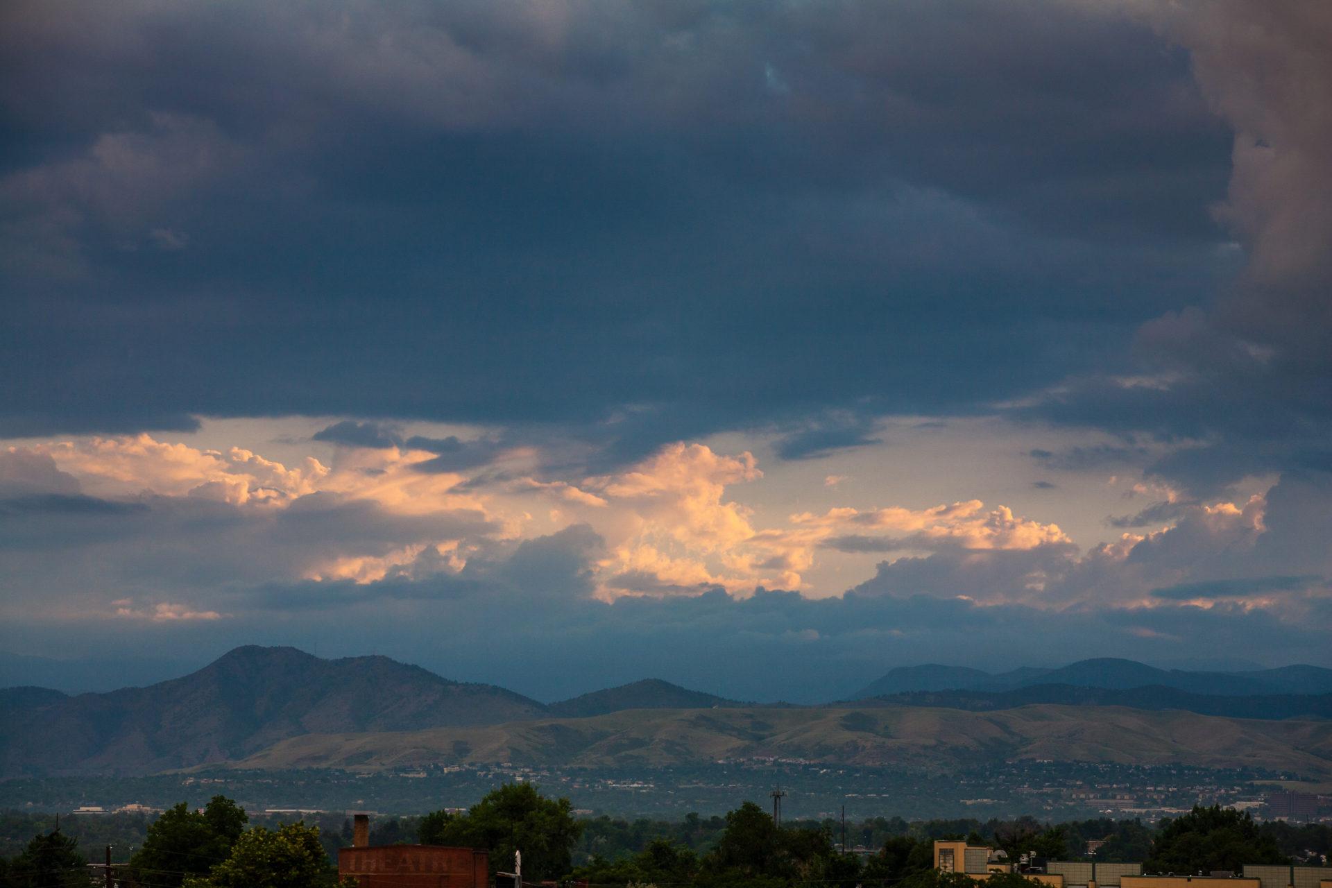 Mount Evans obscured at sunset - July 13, 2011